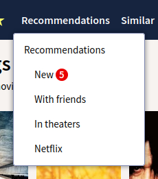 The recommendations drop down menu, showing a red notification next to new.