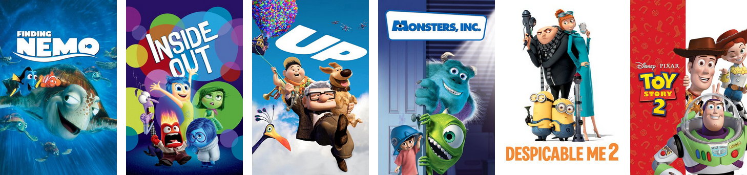 Similar movies of Toy Story, starting with Finding Nemo and Inside Out.