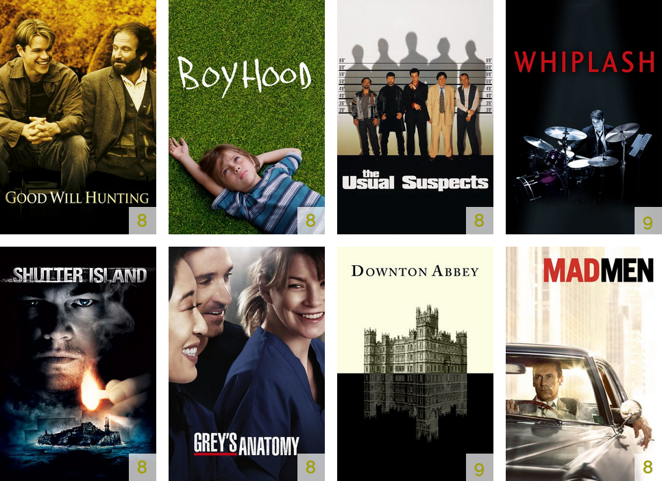 Screenshot of the Thomas van Wageningen's new recommendations starting with Good Will Hunting and Boyhood.