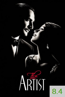 Poster for The Artist with an average rating of 8.4.