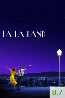 Poster for La La Land with an average rating of 8.7.