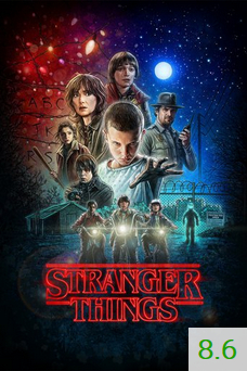 Poster for Stranger Things with an average rating of 8.6.