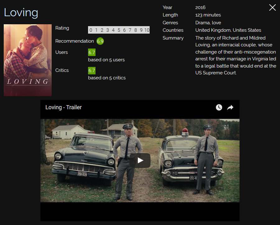 Screenshot of more information about the movie Loving.