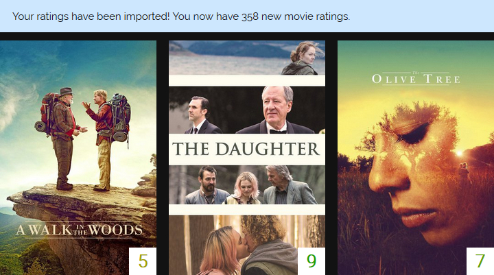 Screenshot of ratings imported from Letterboxd.