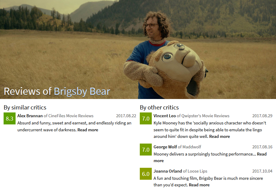 Design 11: screenshot of the new review page for Brigsby Bear where the background is white and the colored squares showing the ratings are larger.