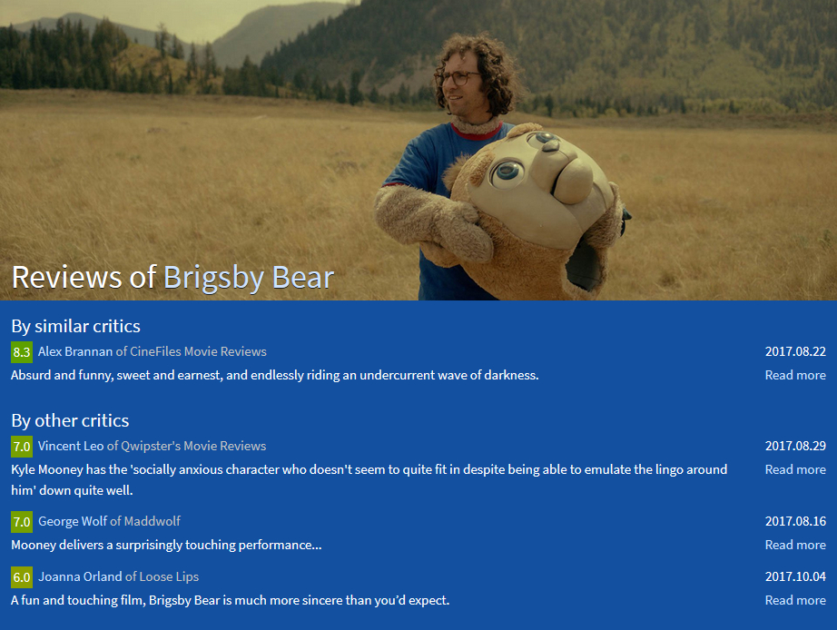 Design 10: screenshot of the old review page for Brigsby Bear where the background is blue.