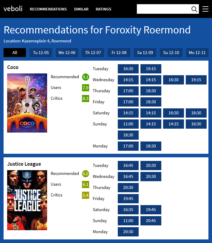 Screenshot of Recommendations in the cinema showing the two movies Coco and Justice League, including their recommendation and showtimes at the movie theater Foroxity Roermond.