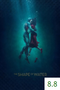 Poster for The Shape of Water with an average rating of 8.8.