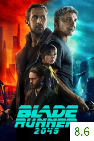 Poster for Blade Runner 2049 with an average rating of 8.6.