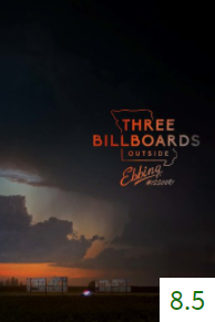 Poster for Three Billboards Outside Ebbing, Missouri with an average rating of 8.5.