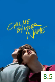 Poster for Call Me By Your Name with an average rating of 8.5.