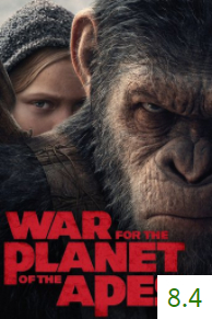 Poster for War for the Planet of the Apes with an average rating of 8.4.