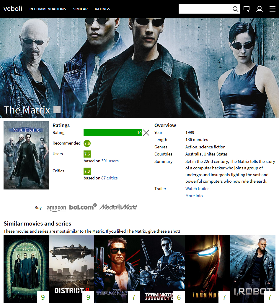 Design 11: screenshot of the old movie page for The Matrix. There is a background image from The Matrix above, followed by a lot of not well-structured information about the movie.Design 12: screenshot of the new home page for when you are logged in. There are recent ratings of friends and previews for specific recommendations.