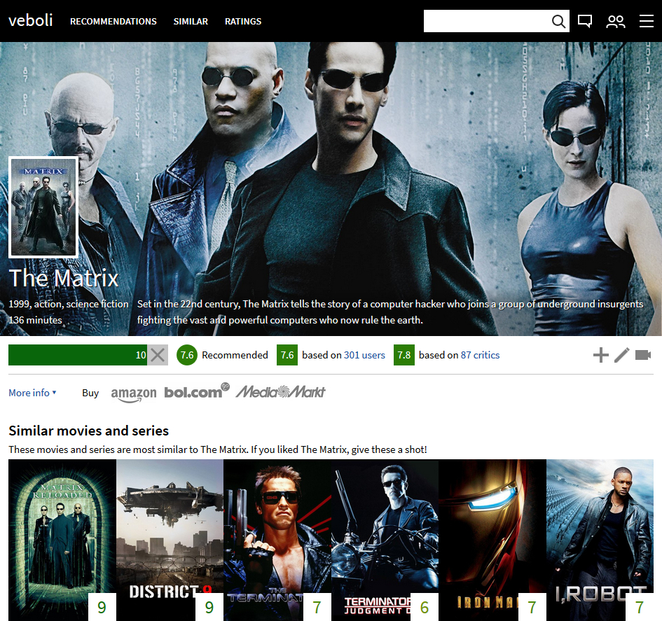 Design 11: screenshot of the old movie page for The Matrix. There is a background image from The Matrix above, followed by a lot of not well-structured information about the movie.DDesign 12: screenshot of the new home page for when you are logged in. There are recent ratings of friends and previews for specific recommendations.