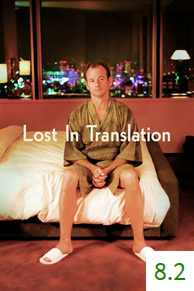 Poster for Lost in Translation with an average rating of 8.2.