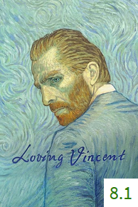 Poster for Loving Vincent with an average rating of 8.1.