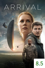 Poster for Arrival with an average rating of 8.5.
