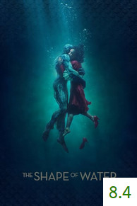 Poster for The Shape of Water with an average rating of 8.4.