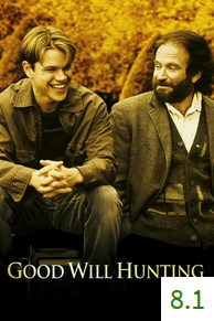 Poster for Good Will Hunting with an average rating of 8.1.