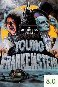 Poster for Young Frankenstein with an average rating of 8.0.
