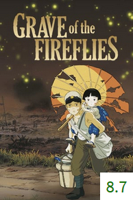 Poster for Grave of the Fireflies with an average rating of 8.0.