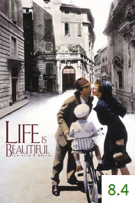 Poster for Life Is Beautiful with an average rating of 7.7.