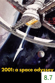 Poster for 2001: A Space Odyssey with an average rating of 8.7.