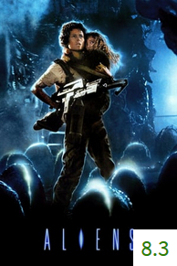Poster for Aliens with an average rating of 8.3.