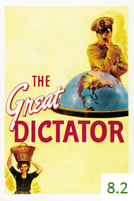 Poster for The Great Dictator with an average rating of 8.2.