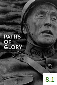 Poster for Paths of Glory with an average rating of 8.1.
