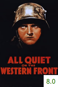 Poster for All Quiet on the Western Front with an average rating of 8.
