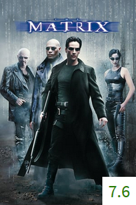 Poster for The Matrix with an average rating of 7.6.