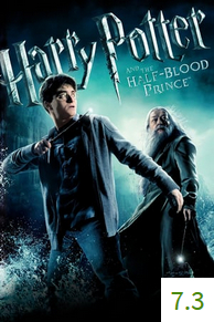 Poster for Harry Potter and the Half-Blood Prince with an average rating of 7.3.