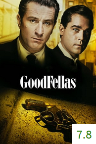 Poster for GoodFellas with an average rating of 7.8.