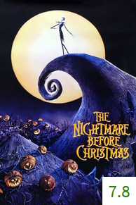 Poster for The Nightmare Before Christmas with an average rating of 7.8.