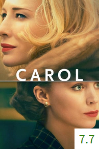 Poster for Carol with an average rating of 7.7.