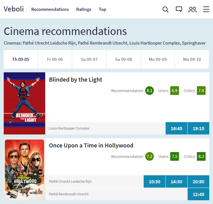 Image of the recommendations in the cinema page with the movies Blinded by the Light and Once Upon a Time in Hollywood being recommended for a user in Utrecht.