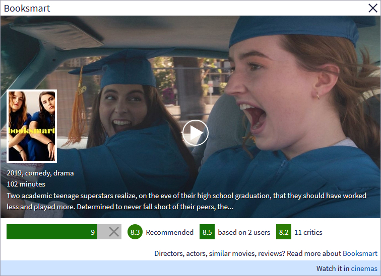 Image of the preview showing Booksmart, with a link to movie theaters in which it is playing in the bottom right.