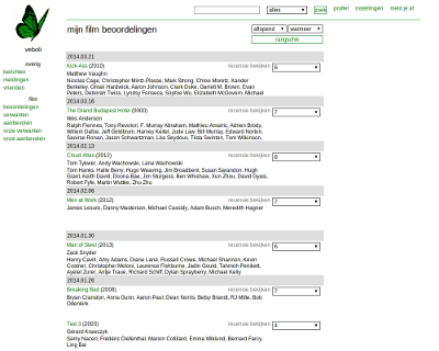 Design 0: screenshot of an old ratings page. The page is located left and is made up of a white background with black, gray, and green elements. There's a navigation bar on the top and one on the left and there aren't any posters of movies yet.