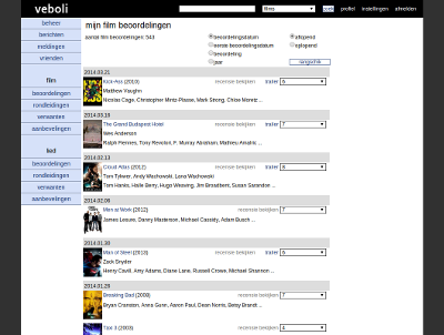 Design 1: screenshot of an old ratings page. The page is centered above a gray background and is made up of a white background with black, gray, and blue elements. There's a navigation bar on the top and one on the left and there are now posters for the movies.