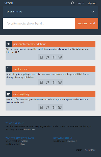 Design 5: screenshot of the new homepage for medium screens. The dominant colors are light shades of gray and muted shades of dark blue, with orange being used to accent important elements.
