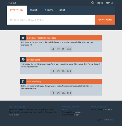 Design 5: screenshot of the new homepage for large screens. The dominant colors are light shades of gray and muted shades of dark blue, with orange being used to accent important elements.